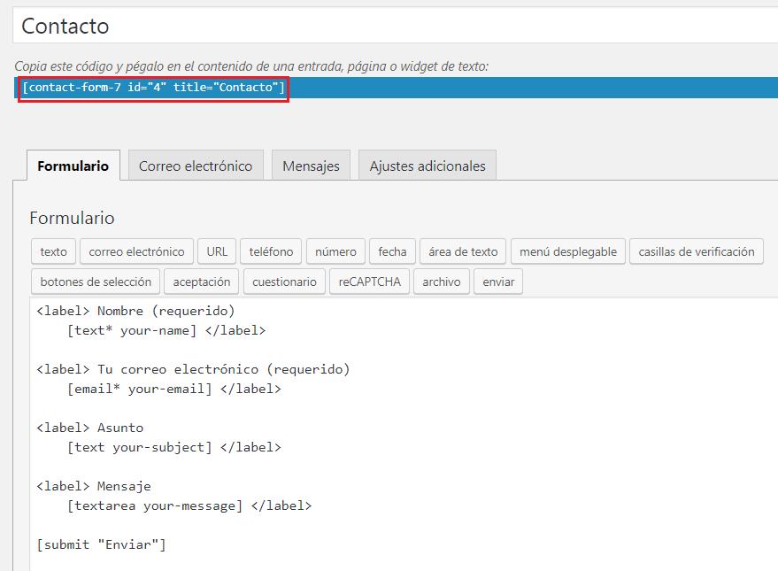 Rellenar los campos del formulario de contacto en ContactForm 7