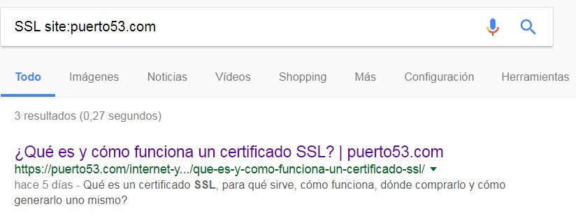Comando site de Google para comprobar la configuración del plugin All in ONE SEO Pack