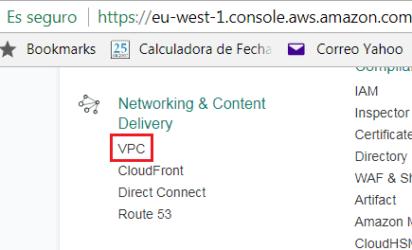 Administración y creación de un VPC de Amazon AWS