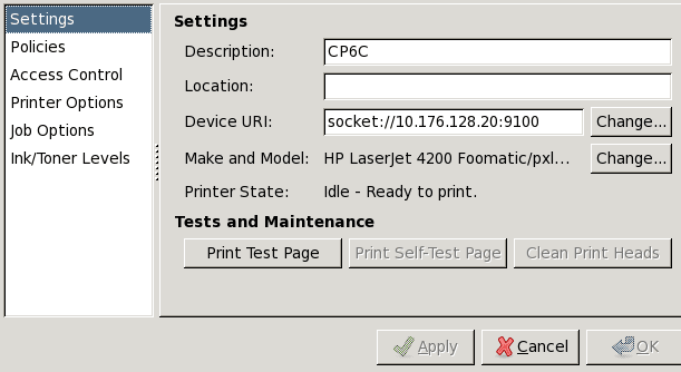 Linux - system-config-printer - Settings