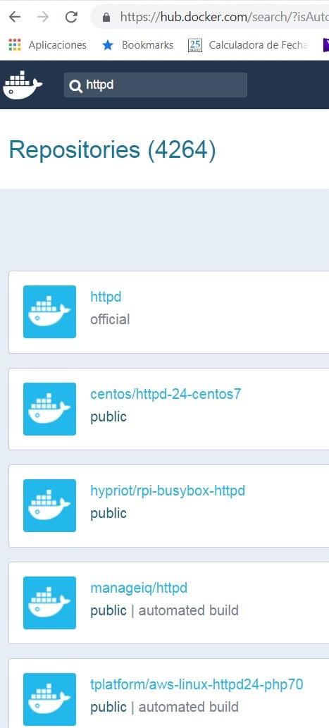 Búsqueda de un contenedor en DockerHub