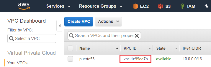 Amazon AWS - VPC ID
