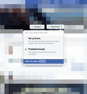 Dejar de seguir a un amigo en Facebook