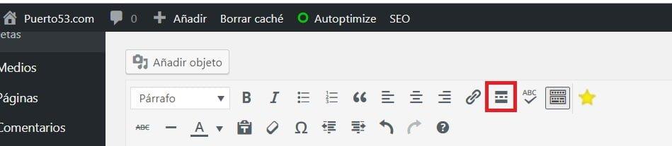 Wordpress - Insertar el boton Leer Mas con el editor clasico