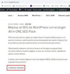 Insertar el botón «Continuar leyendo» en WordPress