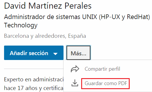 Linkedin - Guardar currículum en PDF
