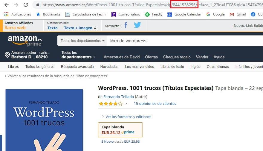 Código ASIN producto Amazon