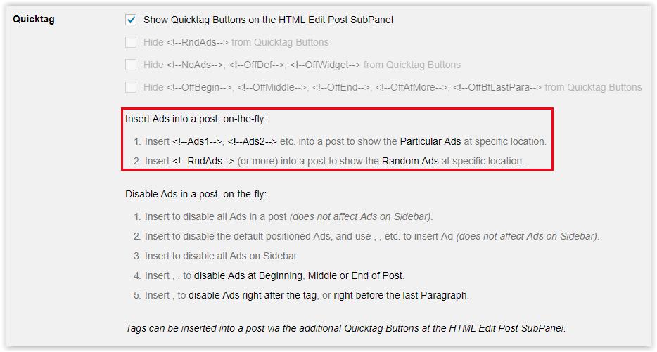 Plugin Quick Adsense - Shortcodes