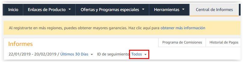 ID de seguimiento afiliados de Amazon