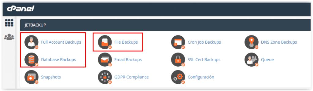 Copias de seguridad en el hosting Sered.net