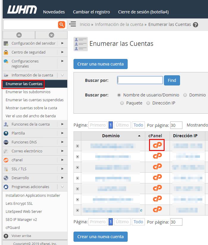 Cuentas creadas en Sered.net