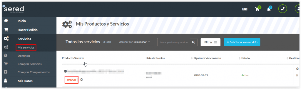 Acceso al CPanel de Sered,net