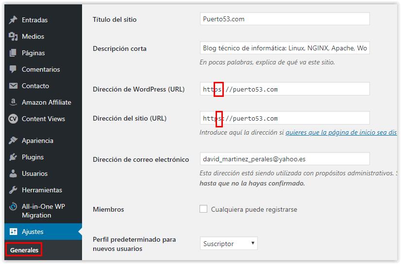 Wordpress - Ajustes Generales - Dirección de URL