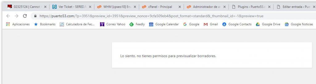 Wordpress - No tienes permisos para visualizar