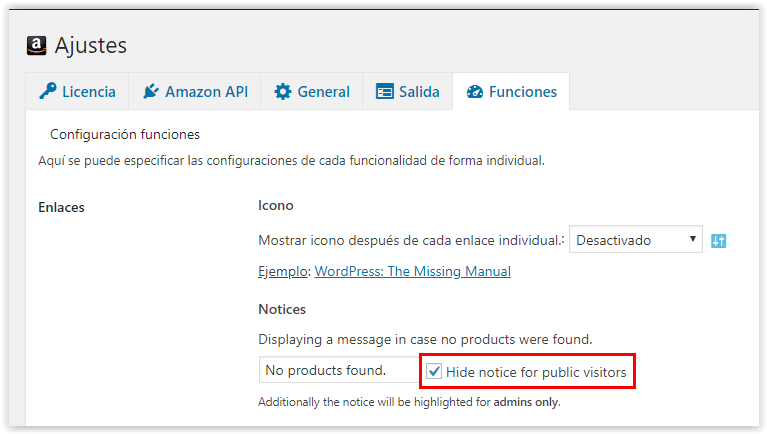 Plugin AAWP - Esconder mensaje NO PRODUCTS FOUND