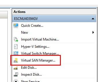 Administrador del switch Virtual de SAN de Hyper V
