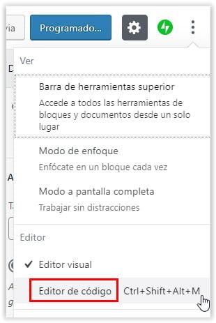 Editor del codigo fuente de una entrada o pagina de WordPress