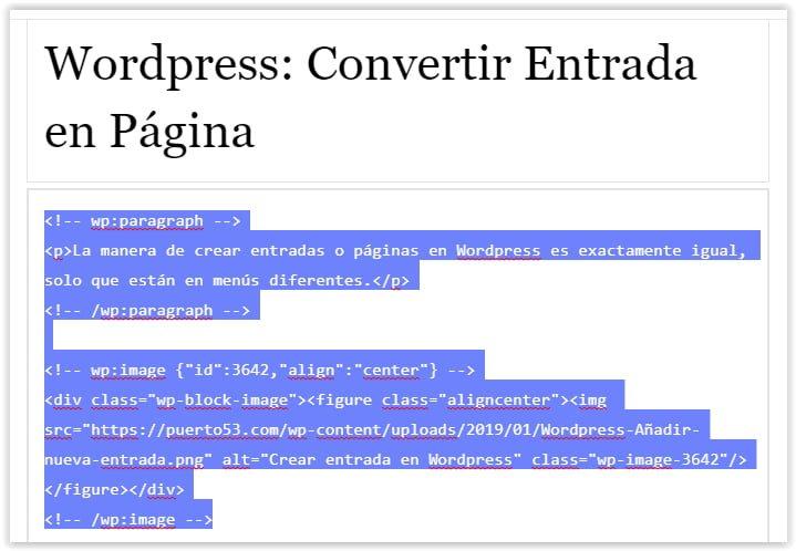 Seleccionar el codigo fuente de una entrada o pagina de WordPress
