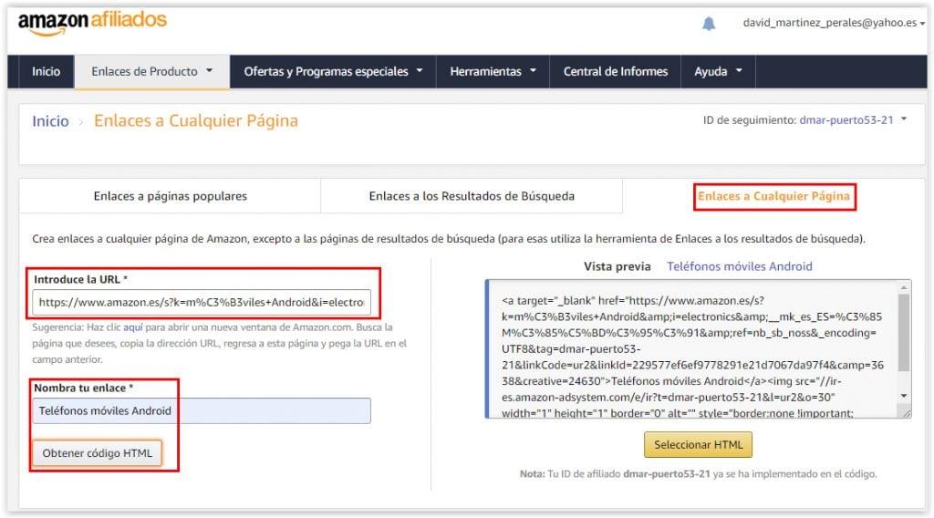 Generar enlaces de afiliado a cualquier pagina de Amazon