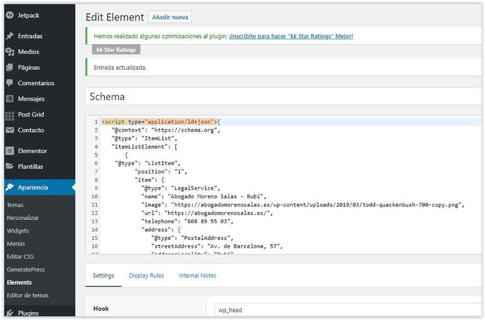 Crear hook en WordPress con Generatepress para insertar el código fuente del rich snippet