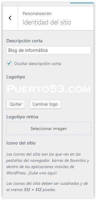 Generatepress - Configurar la identidad del sitio