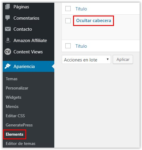 Generatepress -  Acceso al menu Elements