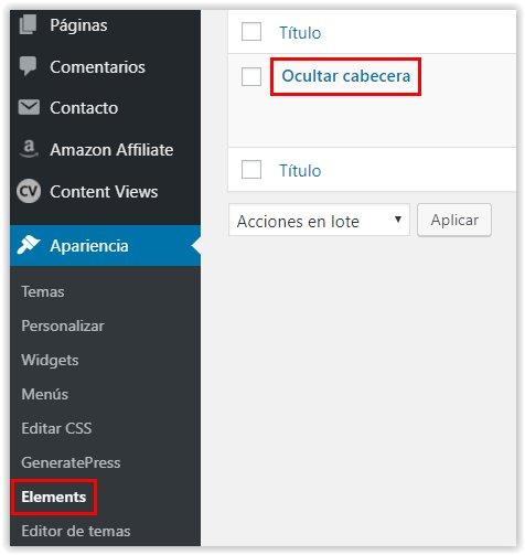 Generatepress -  Acceso al menu Elements