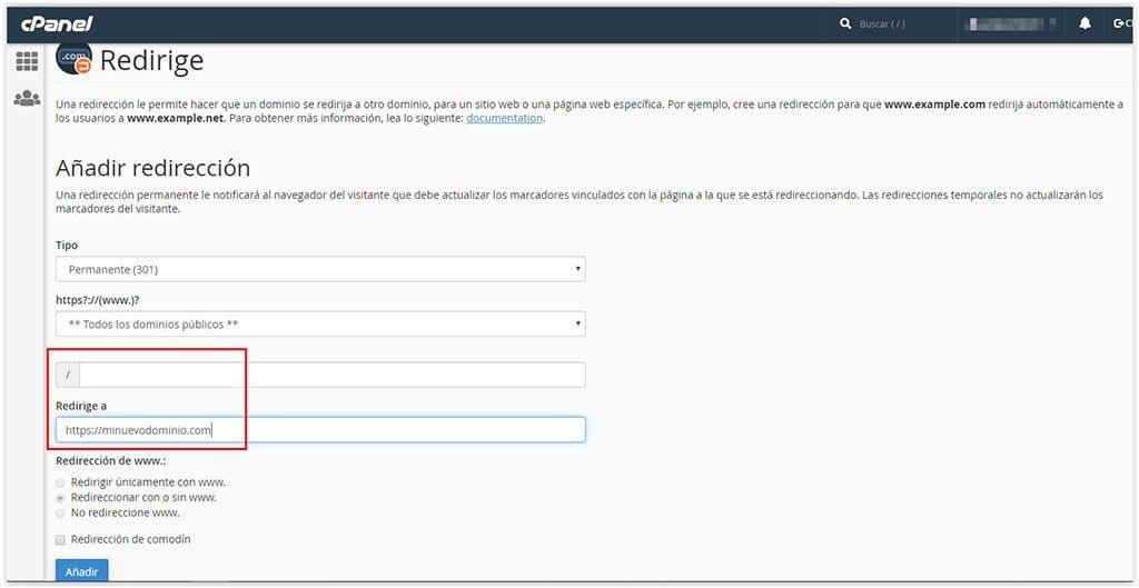 Redirigir todas las URLs de un dominio con Sered.net