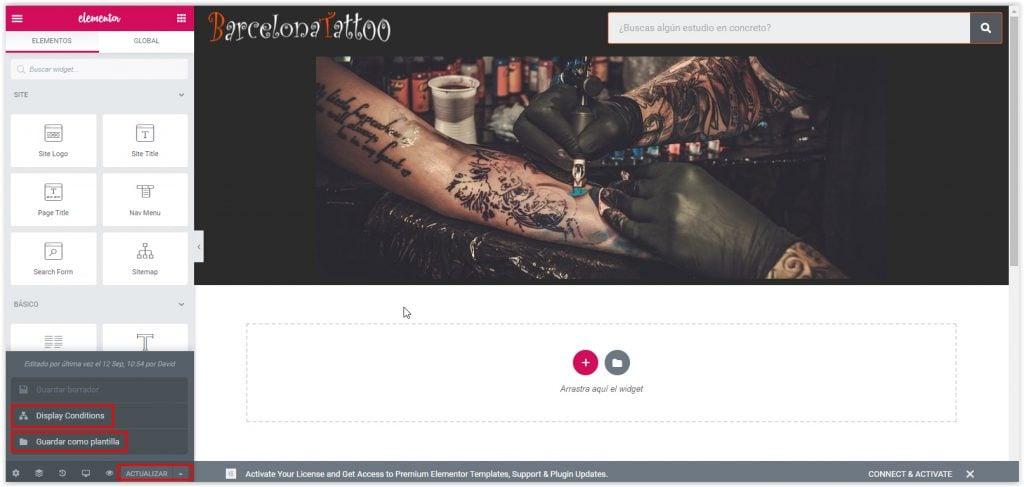 Guardar Plantilla de WordPress con Elementor