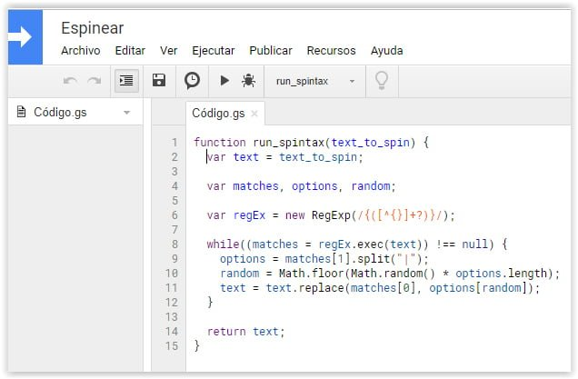 Codigo fuente de un espinner en Google Sheets