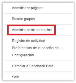 Administrar anuncios de Facebook