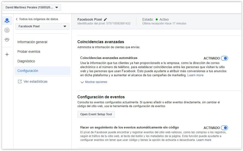 Configuracion automatica de eventos de Facebook Pixel