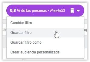 Facebook Pixel - Guardar filtro