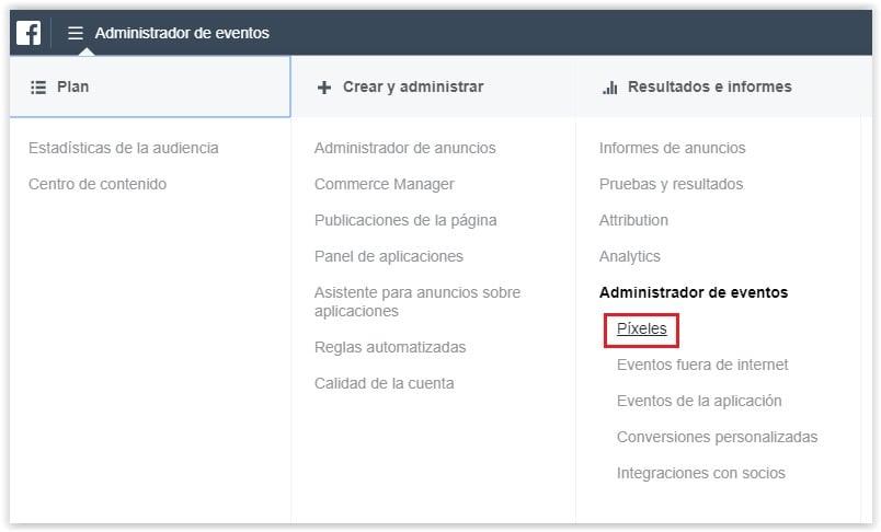 Instalar Facebook Pixel desde el administrador de eventos