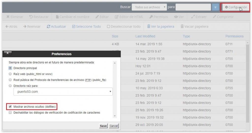 Mostrar los archivos ocultos de CPANEL