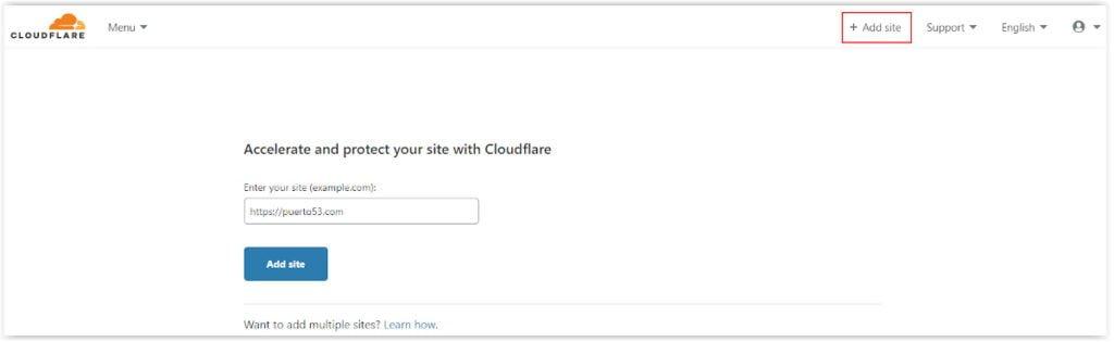 Añadir nuevo sitio en Cloudflare