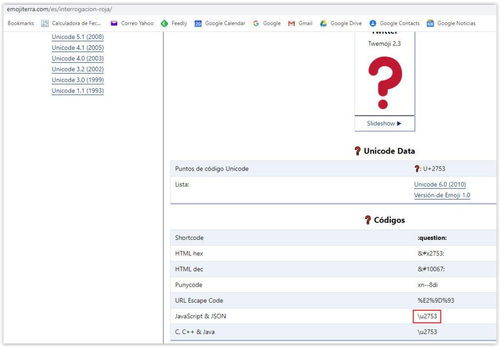 Codigo del Emoji en formato JSON-LD para los RichSnippets de preguntas frecuentes
