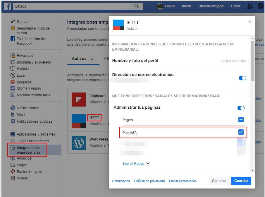 Permisos de Facebook a la aplicación IFTTT