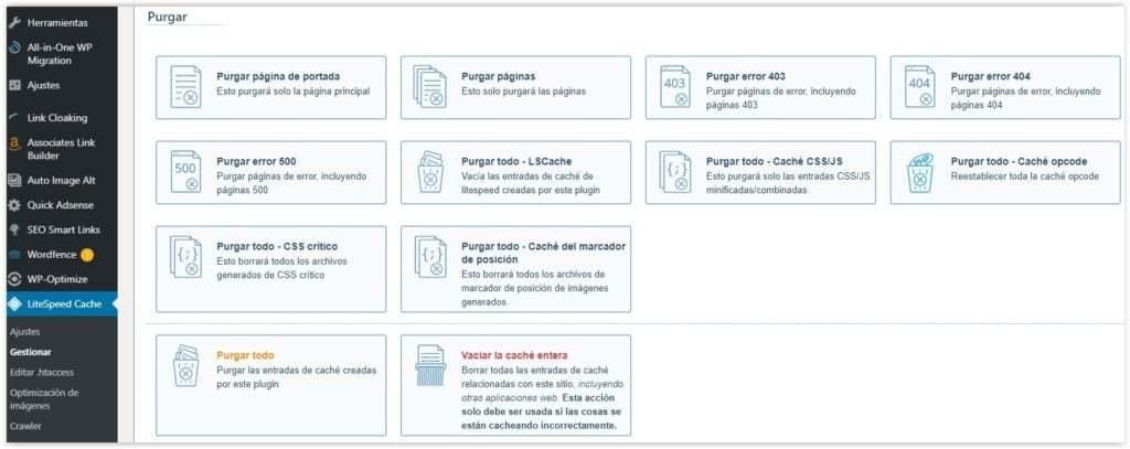 Borrar la cache en WordPress con el plugin LiteCache speed