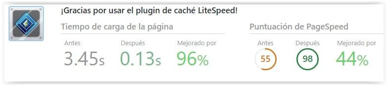 Litespeed cache - Puntuación de rendimiento de carga de la web
