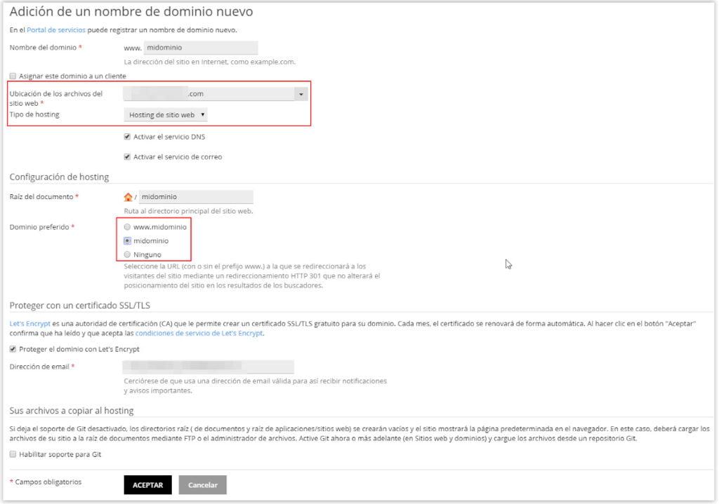 Datos para añadir un dominio nuevo en Profesional Hosting