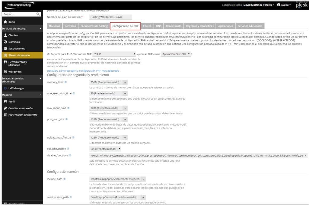 Modificar el fichero php.ini en Profesional Hosting