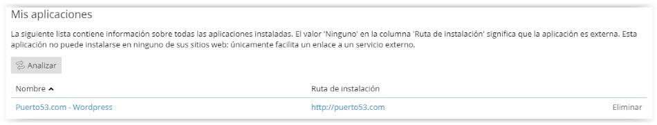 Wordpress instalado con Profesional Hosting y Plesk
