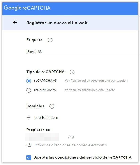 Registrar nuevo sitio WEB en el servicio Recaptcha de Google