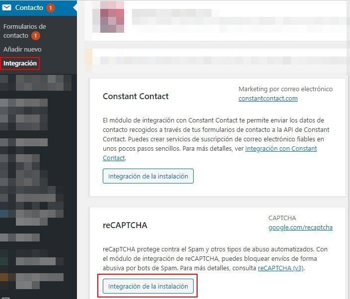 Integrar Recaptcha v3 en Contact Form 7