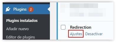 Ajustes del plugin Redirection de WordPress