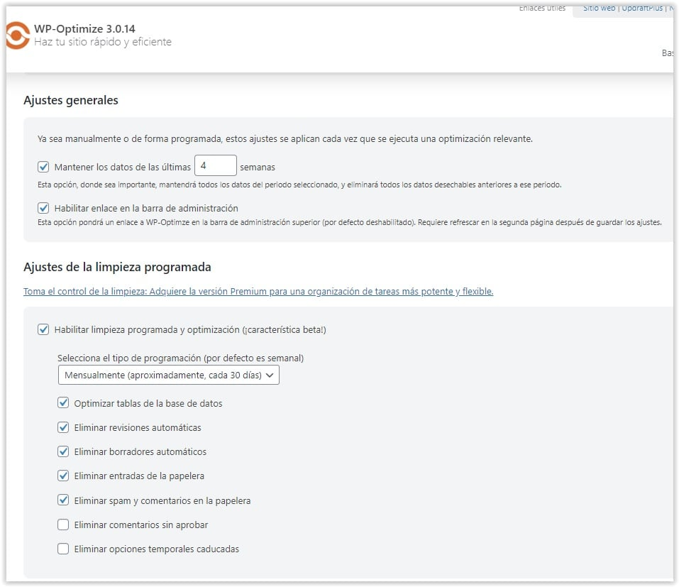 Programar la optimizacion periodica de la base de datos de WordPress con WP Optimize