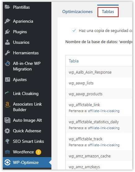 Mantenimiento de tablas de MySQL con el plugin de WordPress WP Optimize