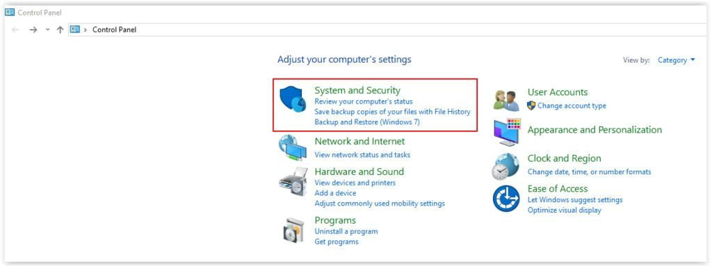 Windows10 - System and Security