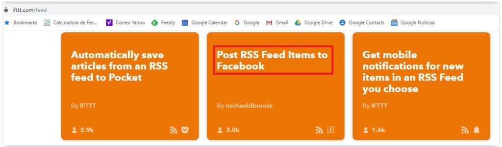 IFTTT - Post RSS Feed Items to Facebook